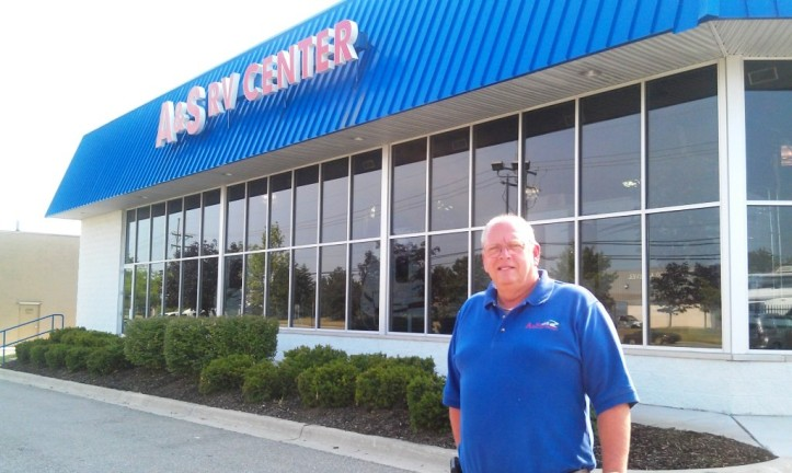 A & S RV Center President Larry Andree stands in front of his business