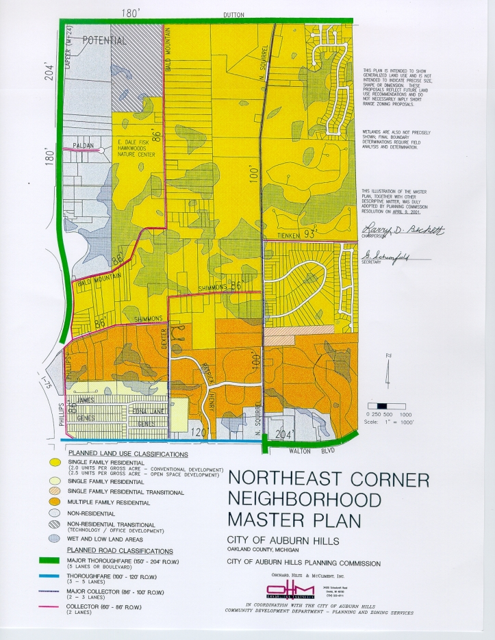 The Northeast Corner Neighborhood is the area bounded to the north by Dutton Road, south by Walton Boulevard, west by M-24, and east by the City of Rochester Hills border.