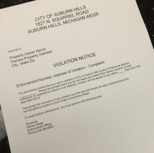 Sample Violation Letter