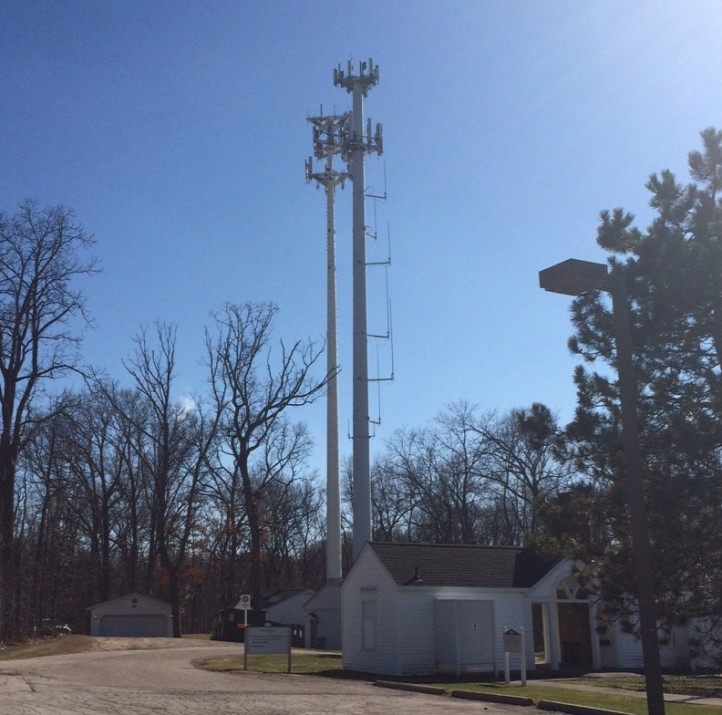 The City Council will review an antenna addition for AT&T to this tower (right hand side) located on the City's Municipal Campus, east of the Community Center, at tonight's Council meeting