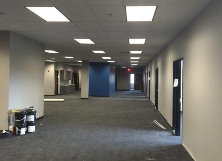 The office areas on the first and second floors of the building are being painted, carpet is being installed, and all the rest of the finish touches are being completed by contractors