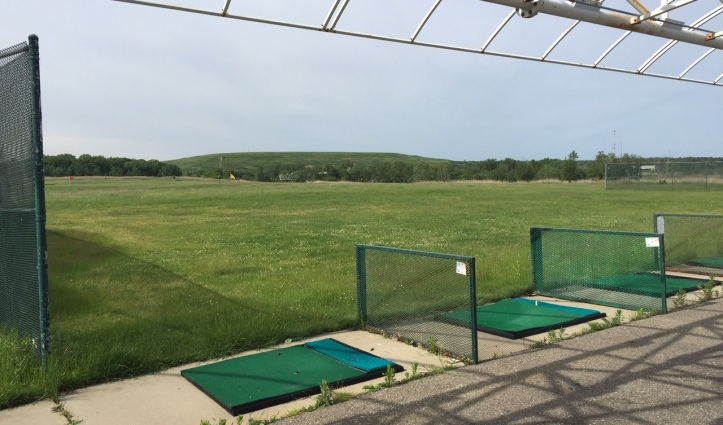 Now closed outdoor golf driving range overlooking the bulk of the closed landfill.
