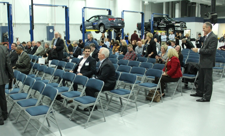 Guests were invited into BorgWarner's high-tech garage after the tree planing ceremony.