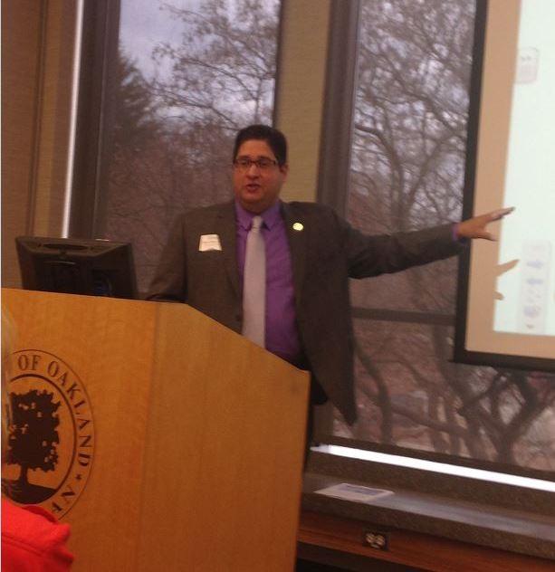 Steve Cohen presents information about the Auburn Hills Age-Friendly Program