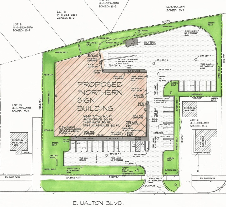 Site Plan For Northern Sign Company