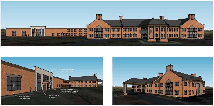 Rendering of Improvements proposed to update the building façade