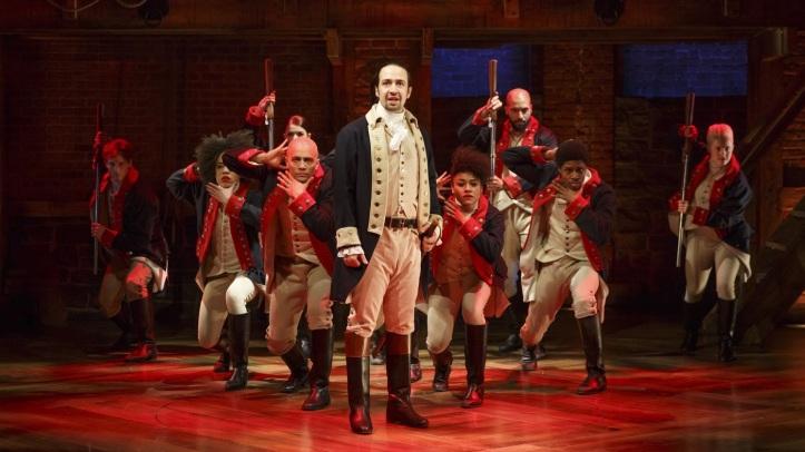 Cast of the musical Hamilton (photo credit Joan Marcus)