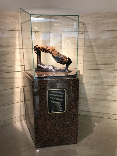 FCA US retains a piece of the mangled steel from the World Trade Center on display at FCA US headquarters in Auburn Hills.