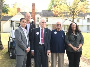 From left to right: Mayor McDaniel, City Manager Tom Tanghe, Mr. Leonard Hendricks, Council Member Henry Knight, Mayor Pro-tem VeRonica Mitchell.
