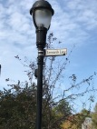 A lamp post is adorned with a sign stating: Leonard's Lane.