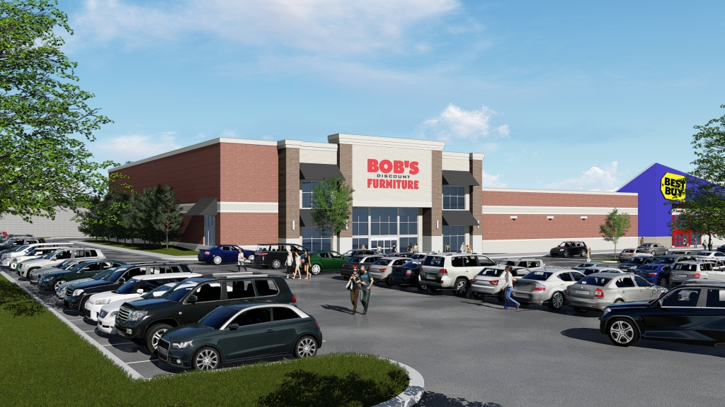 Rendering of the proposed building viewed from I-75.